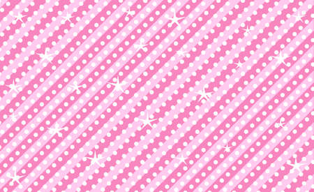Pink vector background with stripes and polka dots. Cute rose backdrop for decoration girly party. Wrapper paper design for little princess. Beautiful light abstract for kids invitation