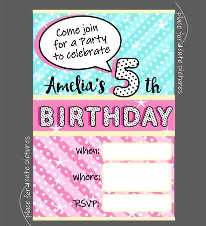Vector invitation template for girly party. Cute invite card for birthday, baby shower for girl Trendy doll style. Blue, pink and yellow funny pattern. Holiday background for kids. Black polka dots