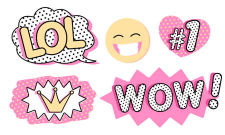 Set of cute vector stickers. Bubble for text, princess crown, WOW, LOL icons and laughing emoji. Pink color with black doodle and dots. Pop art doll style. Photo booth props for birthday party