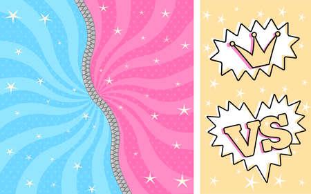 Muñeca sorpresa LOL rayas azul rosa brillante. Lucha contra los cómics románticos de mujeres / hombres. Linda invitación de cumpleaños con cremallera. Descomprimido, cerrado. Juego de batalla relámpago Ilustración de vector