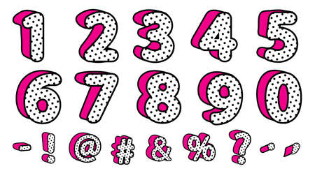 Cute black polka dots 3D set of numbers and signs. Vector LOL girly doll surprise style. Banner with hot pink shadow. Font design kids age. Picture for birth invite vector card. Valentine's day sale 矢量图像