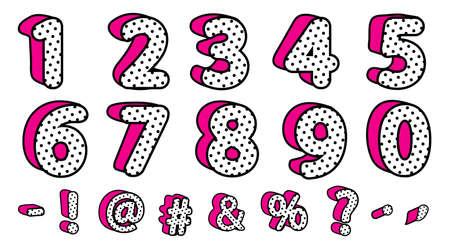 Lindo conjunto 3D de lunares negros de números y signos. Vector estilo sorpresa de muñeca femenina LOL. Banner con sombra rosa fuerte. Diseño de fuentes para niños. Imagen para tarjeta de vector de invitación de nacimiento. Rebajas de san valentin