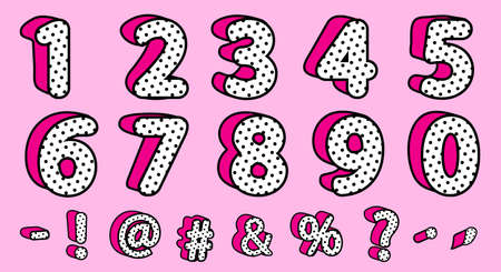 Cute black polka dots 3D set of numbers and signs. Vector LOL girly doll surprise style. Banner with hot pink shadow. Font design kids age. Picture for birth invite vector card. Valentine's day sale Ilustracja