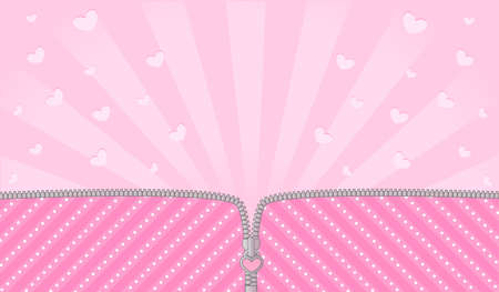 Sorpresa de muñeca lol rayas rosa brillante. Cremallera de vector abierto y lindo candado. Plantilla de telón de fondo de nacimiento rosa con corazones. Espacio de banner en blanco para invitación de texto Ilustración de vector