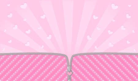 Sorpresa della bambola lol a strisce rosa brillante. Cerniera vettoriale aperta e lucchetto carino. Modello di sfondo nascita rosa con cuori. Spazio banner vuoto per invito di testo Vettoriali