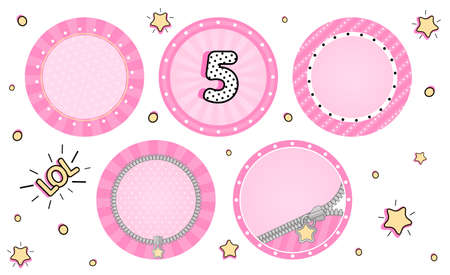 Set of cute vector lol surprise cupcake toppers. Pink party stickers. Blank background for name, age, text, pictures in center. Round zipper, sunbeam, striped. Little small stars. Tiny sweet design 免版税图像 - 117102337