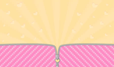 Bright pink striped background for a themed party in LOL doll surprise. Open vector zipper and cute lock. Yellow birth backdrop template. Rays and flying hearts Stockfoto - 117102338