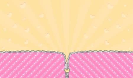 Jasne różowe tło w paski na imprezę tematyczną z niespodzianką LOL. Otwórz wektor zamek błyskawiczny i ładny zamek. Szablon tło żółty urodzenia. Promienie i latające serca