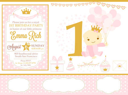 Pink and gold princess party decor. Cute happy birthday card template elements. Birthday party and girl. Seamless pattern backgrounds. Illustration