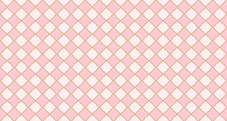 Seamless arabic geometric pattern. Pink and golden vector background. Little princess style. Trendy pastel colors.