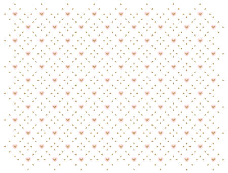 Pink and white seamless pattern with golden hearts. Baby girl shower, birthday party, cute geometric wallpaper.