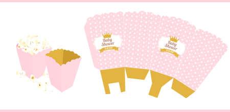 Popcorn paper box template. For little princess Illustration