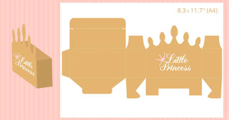 Gift box - gold crown shape. Vector template for handmade and laser cutting. Can be used for little princess party. Birthday, baby and bridal shower, wedding candy bar (table, buffet) Print and cut.