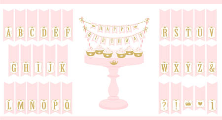 Vector pink cake stand with cupcakes. Set of printable letters cake bunting. Mini flags can be used for decoration princess party (birthday, baby and bridal shower, wedding). Royal Happy Birthday card. Stok Fotoğraf - 117102351