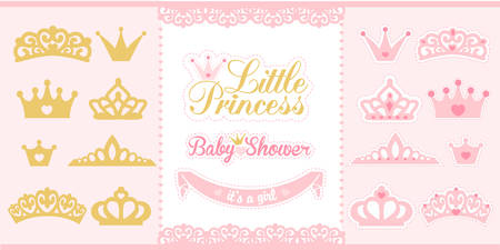 Gold and pink crowns set. Little princess design elements. Template silhouettes of crowns for laser cutting. Birthday party and girl baby shower decor. Stok Fotoğraf - 117102352