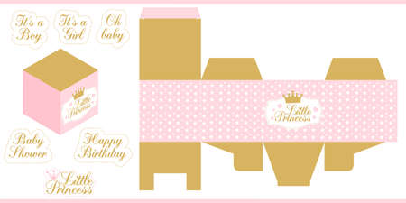 Little princess party printable template (baby shower, birthday) Die paper box. Print and cut. Gold and pink royal vector packing for sweet (candy) table. Favors gift box mockup. Cube shape package