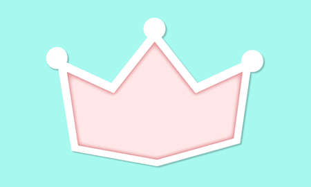 Pink crown on blue background. Vector cut paper. Cute girlish illustration for little princess. White silhouette with shadow. Modern abstract backdrop for sale banner. Baby fairy themed. Royal style Stok Fotoğraf - 117102355