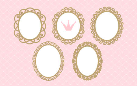 Set of laser cut vector oval frames. Templates can be used for decoration invite (wedding, baby shower, birthday) card. Vintage royal gold elements of design. Borders for laser cutting. Girlish Stok Fotoğraf - 117102356