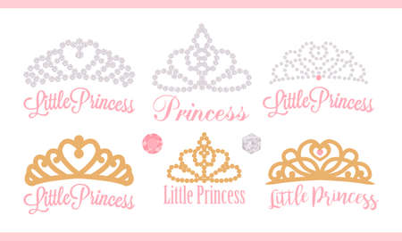 A set of small diadems. Vector design element for royal party (baby, bridal shower; wedding: birthday) Princess gold crown with gem. Golden silhouettes for laser cutting. Stickers of diamonds. Gems Stok Fotoğraf - 117102357