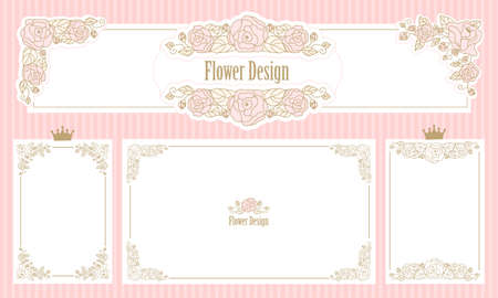 Royal floral frame. Set of flower borders. Vintage wedding invitation. Cute web banner corner. Template for little princess. Pink rose with gold thin line ornament.Classic victorian elements of design