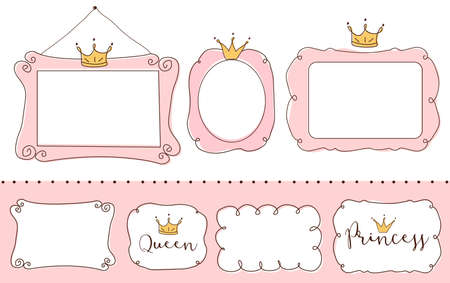 Set of cute doodle mirrors. Princess vector element of design. Pink frames with crown, tiara. Sketch hand drawn. Child's picture. Invitation birthday template. Baby shower girl card. Decorative border Illustration