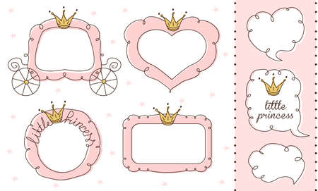 Set of cute doodle mirrors. Princess vector element of design. Pink frames with crown, tiara. Sketch hand drawn. Child's picture. Invitation birthday template. Baby shower girl card. Decorative border Stok Fotoğraf - 117102360