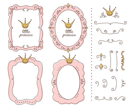 Set of cute doodle mirrors. Princess vector element of design. Pink frames with crown, tiara. Sketch hand drawn. Child's picture. Invitation birthday template. Baby shower girl card. Decorative border Stok Fotoğraf - 117102361