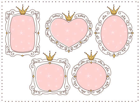 Set of cute doodle mirrors. Princess vector element of design. Pink frames with crown, tiara. Sketch hand drawn. Child's picture. Invitation birthday template. Baby shower girl card. Decorative border Ilustração