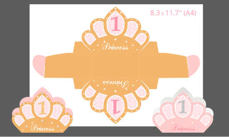 Candy paper box template. For little princess. Favor box for first girl birthday. Printable packing - crown shaped. Gold and pink party. Can be used for baby and bridal shower. Stok Fotoğraf - 117102363