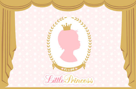 Silhouette of little princess. Luxury silk curtain and drapery. Vector baby royal background. Stok Fotoğraf - 117102364
