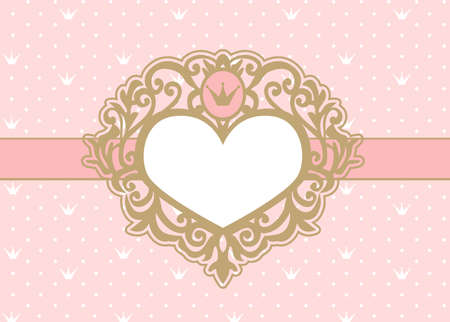Cute pink background with polka dots and crown. Luxury gold photo frame in a shape of a heart. Princess royal invitation card (birthday, wedding, baby shower) Vector picture border. Vintage mirror