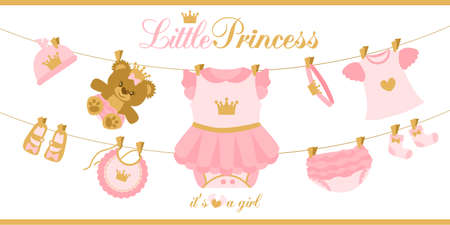 Little princess clothes hanging on line. Illustration for baby shower invitation card. Royal birthday first party. Cute vector things isolated on white background. Pink and gold crown. Teddy bear girl Stok Fotoğraf - 117102383
