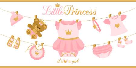 Petits vêtements de princesse suspendus en ligne. Illustration pour carte d'invitation de douche de bébé. Première fête d'anniversaire royale. Choses de vecteur mignon isolés sur fond blanc. Couronne rose et or. Ours en peluche fille
