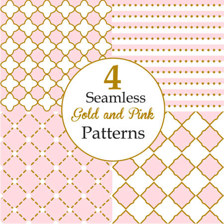 Set of Seamless Gold and Pink Patterns.Background for Little Princess