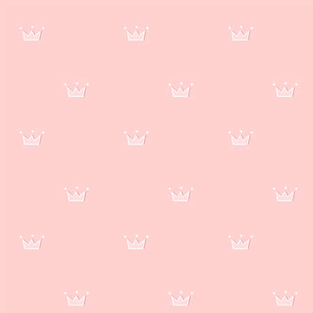 Cute seamless pattern. Pink royal vector background. Doodle crown with little white dots. Sweetheart design for a princess room Light soft female scrapbook paper. Stok Fotoğraf - 117102388