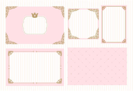 Pink gold frame with crown. A little princess party. Baby shower, wedding, girl birthday invite card. Cute picture border. Decorative golden corner.