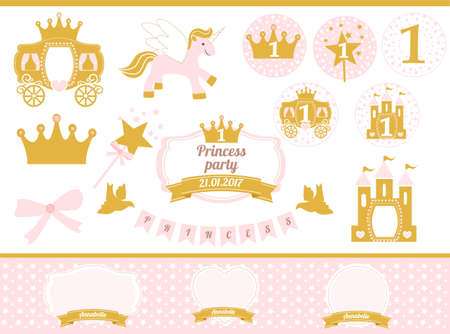 Pink and gold princess party decor. Cute happy birthday card template elements. Birthday party and girl baby shower design elements set. Seamless pattern backgrounds. Little princess