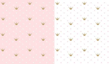 Pink and white seamless pattern with golden crown. Wedding girl baby shower, birthday party Stok Fotoğraf - 117102391