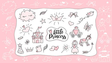 Childrens drawings. Little Princess. Set of doodle illustration hand drawn. Sketch design for cute party (baby shower, girl birthday) isolated on white background. Pink with black outlines.Photo frame