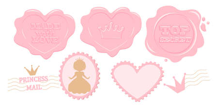 Set of cute pink vector stamps. Princess cards, diary, notebook, album. Perforated edge label. Secret mail letter with wax. Design lol doll surprise