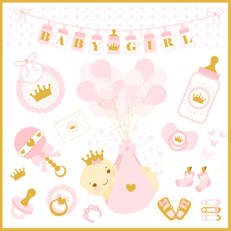 Baby girl shower party. Vector set of design elements. Pink and gold cute collection. Princess crown illustration. baby shower invitation Stok Fotoğraf - 117102395