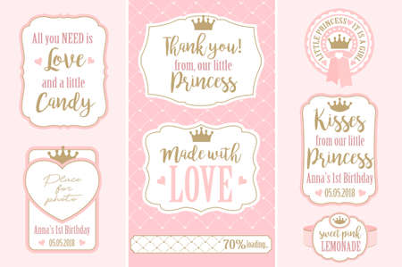 Set of vector vintage frames. Templates gift tags for weddings (wedding, baby and bridal shower, birthday) Golden crown and pink Stok Fotoğraf - 117102397