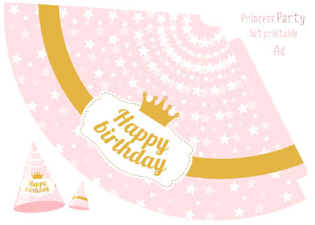 Party hats v printable. Pink and gold princess party. Print and cut. Happy birthday elements. Vector cones template for a holiday. Little princess Stok Fotoğraf - 117102398