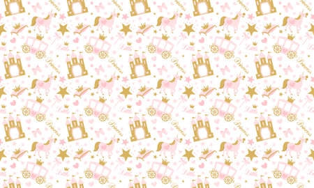 Cute girlish seamless pattern with castle and castle. Vector pink background with crown and star. Little princess party (birth, baby shower)