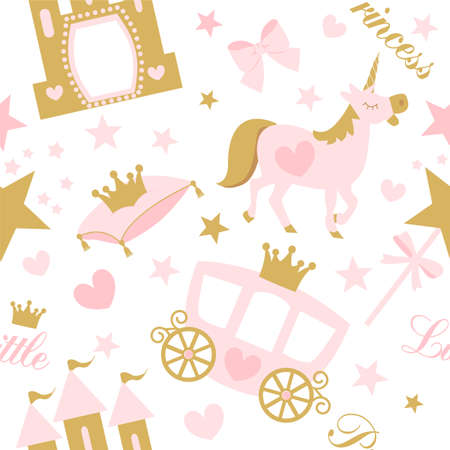 Cute girlish seamless pattern with castle and castle. Nursery wallpaper and textile Illustration
