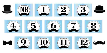Little Man theme. 1-12 months, newborn photo banner. First birthday party for gentleman. Blue backdrop with black stripes, mustache and bowtie. Set of vector frame for scrapbook and invite card
