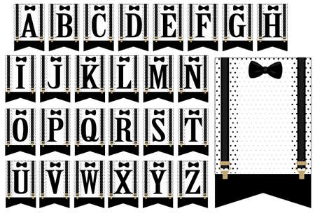 Black bow tie and suspenders. Set of white flags with polka dots. Little man banner. Vector alphabet letters for the wedding party Illustration