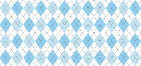 Argyle vector pattern. Light blue and white squares with thin black dotted line. Seamless geometric background for men's clothing, wrapping paper. Backdrop for Little Man (baby boy) party invite card Stok Fotoğraf - 117102406