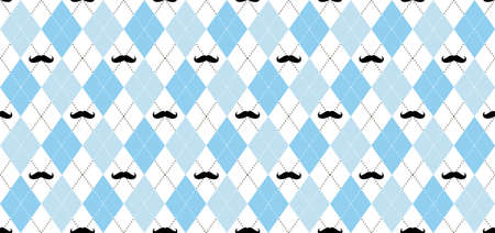 Argyle vector pattern. Black and white squares with black mustache and white dotted line. Seamless geometric background for men's clothing, wrapping paper. Little man (baby boy) party invite card Illustration