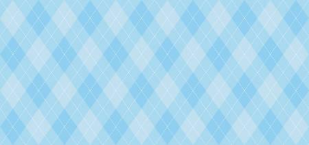 Argyle-Vektormuster. Hellblau mit dünner weißer gestrichelter Linie. Nahtloser geometrischer Hintergrund, Textil, Herrenbekleidung, Packpapier. Kulisse für Little Man (Baby Boy) Party Einladungskarte Vektorgrafik